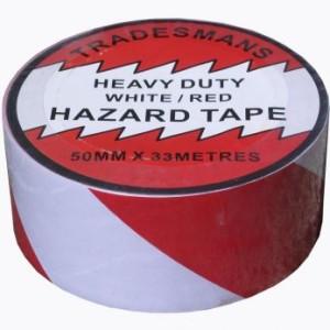 Adhesive Hazard Warning Tape - Red-White